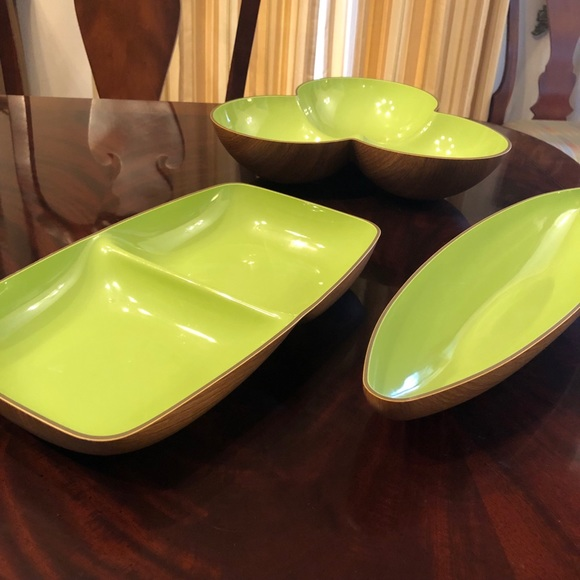 Serving dishes (3), green, light weight